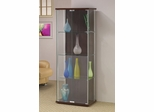 All Glass Front Rectangle Curio in Cappuccino - 950173