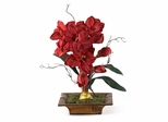 Amaryllis with Bamboo Tray Silk Flower Arrangement in Red - Nearly Natural - 1111-RD
