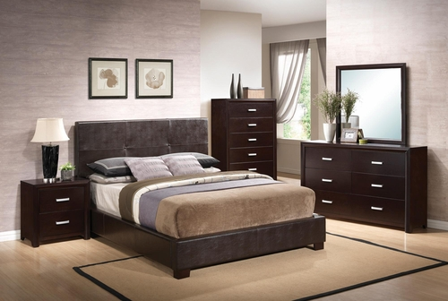 Andreas Bed, Dresser, Mirror, Chest and Nightstand in Cappuccino Brown - 202470X