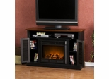 Antebellum Media Black and Walnut Electric Fireplace - Holly and Martin