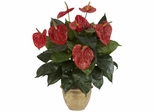Anthurium with Ceramic Vase Silk Plant - Nearly Natural - 6665