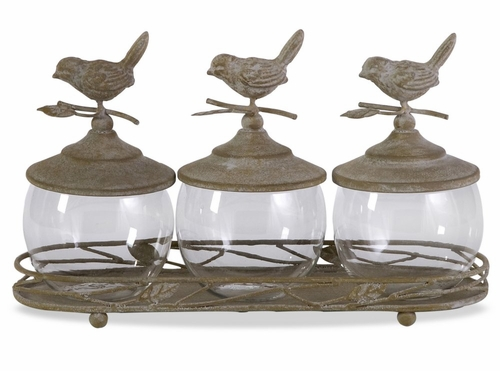 Avalon Lidded Canisters with Tray (Set of 4) - IMAX - 56178-4