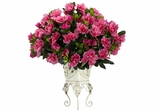 Azalea with Metal Planter Silk Plant - Nearly Natural - 6687