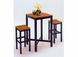 Bar Table and 2 Stools Set in Black With Oak Seats - 59833-58