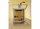 Bar Table with Glass Top in Silver - Coaster - 100135