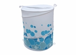 Bathroom Collapse Hamper with Blue Circle Designs - 12118