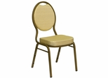 "Beige Patterned HERCULES Series Teardrop Banquet Chair - Gold Frame, 2.5"" Thick Seat - FD-C04-ALLGOLD-2811-GG"