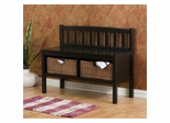 Bench with Brown Rattan Baskets in Black - Holly and Martin