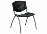 Big and Tall 880 lb. Capacity Black Polypropylene Stack Chair with Titanium Frame Finish - RUT-F01A-BK-GG