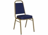Big and Tall Banquet Stack Chair with Navy Patterned Fabric Seat and Back - FD-BHF-1-ALLGOLD-0849-NVY-GG