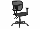 Black Fabric and Mesh Task Chair with Arms - WL-A7671SYG-BK-A-GG