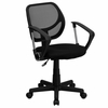 Black Mesh Computer Chair with Arms - WA-3074-BK-A-GG