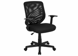 Black Mesh Office Chair with Mesh Back and Mesh Fabric Seat - LF-W-95A-BK-GG