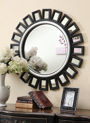 Black Sunburst Mirror with Silver Trim - 901771