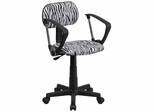 Black & White Zebra Print Computer Chair - BT-Z-BK-A-GG