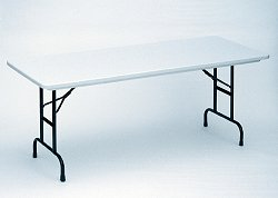 """Blow-Molded Adjustable Height Folding Table 30"""" x 60"""" - Correll Office Furniture - RA3060"""