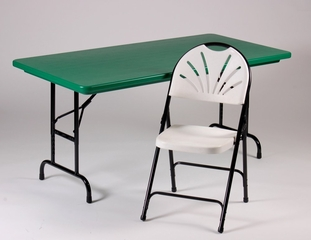 """Blow-Molded Adjustable Height Folding Table 30"""" x 60"""" - Correll Office Furniture - RA3060-C"""