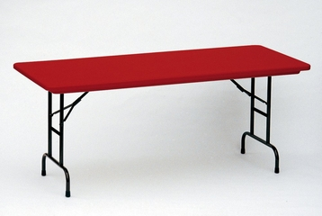 """Blow-Molded Adjustable Height Folding Table 30"""" x 72"""" - Correll Office Furniture - RA3072-C"""