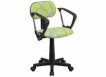 Blue & White Swirl Printed Green Computer Chair - BT-SWRL-A-GG