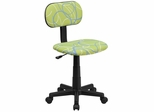Blue & White Swirl Printed Green Computer Chair  - BT-SWRL-GG