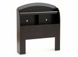 Bookcase Headboard in Black Onyx/Charcoal - South Shore Furniture - 3127098