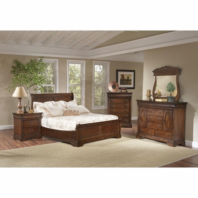 Bordeaux 5 Piece Low Profile Sleigh Bedroom Set Brown Cherry - Largo - LARGO-WG-B4300-LOPRO-SET