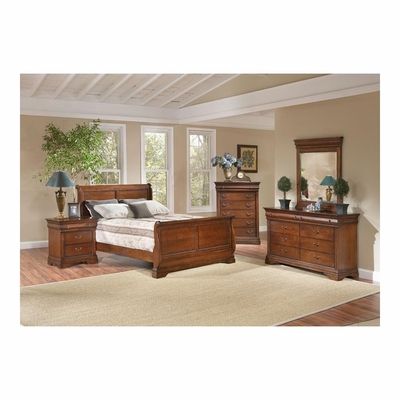 Bordeaux 5 Piece Sleigh Bedroom Set Brown Cherry - Largo - LARGO-WG-B4300-SLEIGH-SET