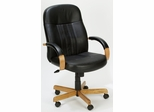 Boss Executive Leather Office Chair with Wood Accents - B8376-K