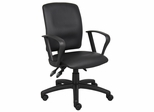 Boss Multi-Function Fabric Leatherplus Task Chair in Black - B3047