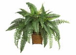 Boston Fern with Wicker Basket Silk Plant in Green - Nearly Natural - 6549