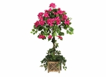 Bougainvillea Topiary with Wood Box in Beauty - Nearly Natural - 5227
