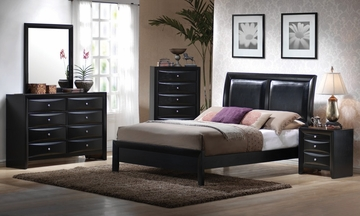 Briana California King Size Bedroom Furniture Set in Glossy Black - Coaster - 200701KW-BSET