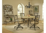Brookside 5-Piece Round Dining Set with Oval Back Caster Chairs in Brown Powder Coat - Hillsdale Furniture - 4815DTRNBCOVC