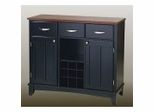 Buffet - Black Buffet with Cherry Wood Top - Home Styles - 5100-0042