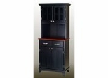 Buffet - Black Buffet with Two Door Hutch and Cherry Wood Top - Home Styles - 5001-0042-42