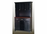 Buffet - Black Buffet with Two Door Hutch and Cherry Wood Top - Home Styles - 5100-0042-42