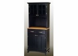 Buffet - Black Buffet with Two Door Hutch and Natural Wood Top - Home Styles - 5001-0041-42