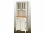 Buffet - White Buffet with Two Door Hutch and Natural Wood Top - Home Styles - 5001-0021-12