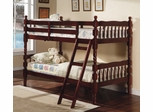 Bunk Bed - Twin / Twin Size Bunk Bed with Ladder in Cherry - Coaster