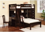 Bunk Bed - Twin / Twin Size Workstation Bunk Bed in Cappuccino - Coaster