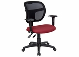 Burgundy Fabric and Mesh Task Chair with Arms - WL-A7671SYG-BY-A-GG