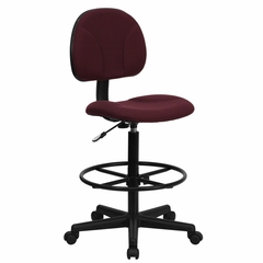 """Burgundy Fabric Ergonomic Multi Function Drafting Stool (Seat Adjusts 26""""-30.5""""H or 22.5""""-27""""H) - BT-659-BY-GG"""