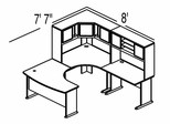 Bush Advantage Hansen Cherry Design 18 - Plan For 8' by 8' Work Station