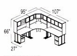 Bush Advantage Hansen Cherry Design 27 - Plan For 8' by 9' Work Station