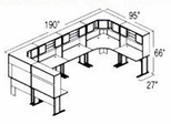 Bush Advantage Light Oak Design 46 - Plan For Multi-Station 8' by 8' Work Station