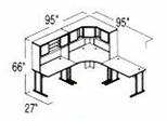 Bush Advantage Medium Cherry Design 20 - Plan For 8' by 8' Work Station
