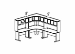Bush Advantage Medium Cherry Design 26 - Plan For 8' by 9' Work Station