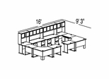 Bush Advantage Medium Cherry Design 50 - Plan For 16' by 10' Work Station