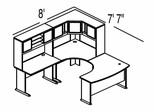 Bush Advantage Pewter Design 17 - Plan For 8' by 8' Work Station