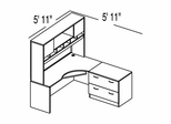"Bush C Series Corsa Maple Design 3 - Plan For 5' 11"" x 5' 11"" Work Station"